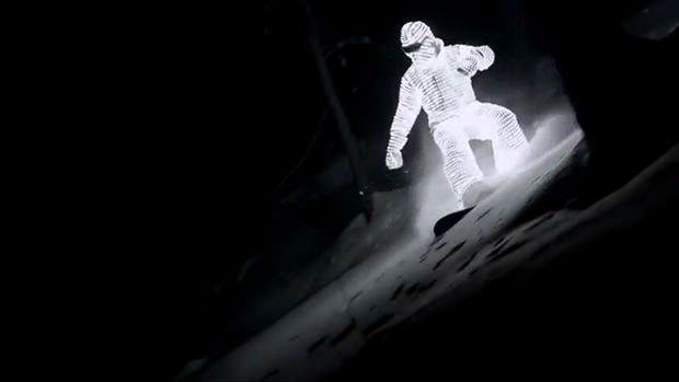 LED Light Suit turns snowboarder into a Sole Light Source