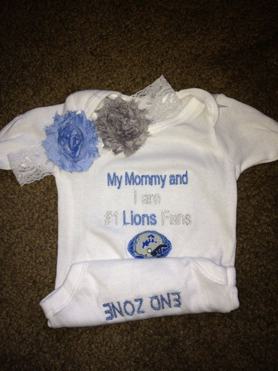 Detroit Lions Football Girls Baby Infant Newborn Onesie Creeper and Headband with Shabby flowers set on Etsy, $30.99