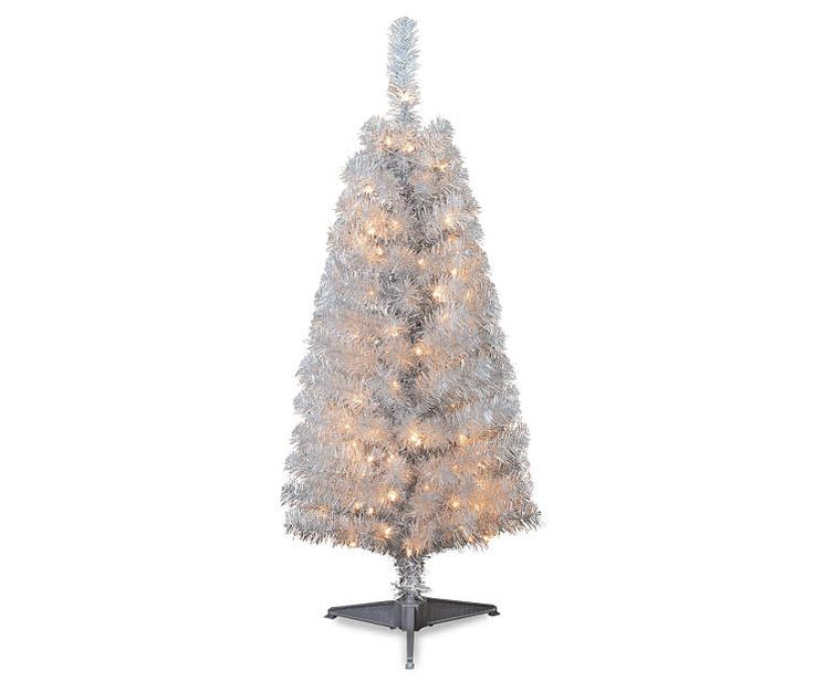 4 Yuletide Silver Pre Lit Artificial Christmas Tree At Lots