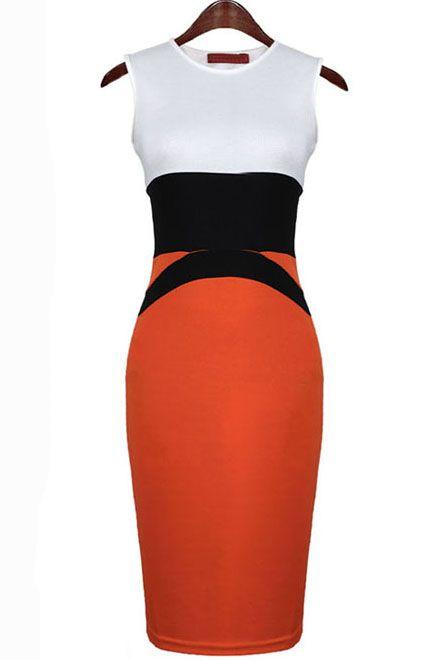 Vestido body sin manga-Blanco y rojo EUR€22.79