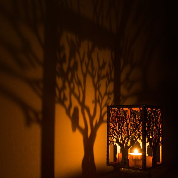 "Barred Owl in Tree laser cut wood candle luminary. 5""x5""x7"". Tea light candle included. Free shipping to US."