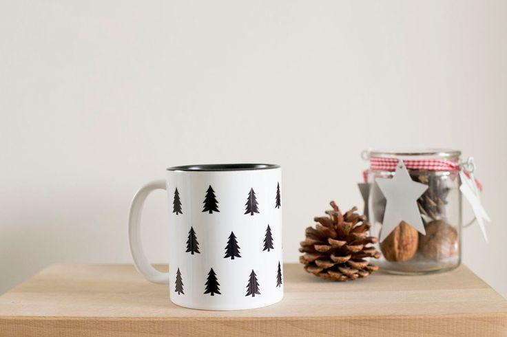 black & white tree mug.
