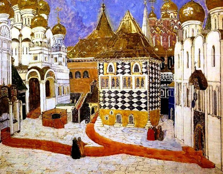 "Set design for the opera ""Boris Godunov"" - Alexander Yakovlevich Golovin  (1863-1930)"