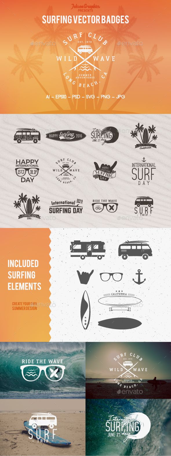 Summer Surfing Badges & Elements  — PSD Template • Only available here ➝…