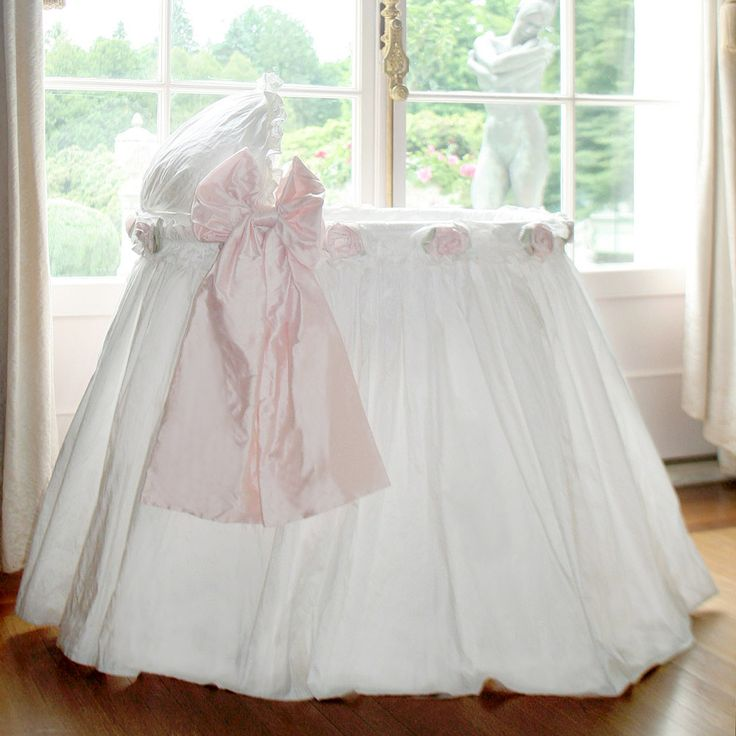 Lulla Smith Bassinet Ruffles Roses 'n Bows Dupioni Silk @Sarah Chintomby Nasafi Grayce #laylagrayce  #newportcottages