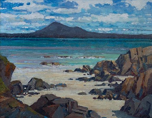 Alex McKenna-Looking Across Slievemore  #art #Atalantic #Coast #moutains #water #ocean landscape #Achill #Island #painting #DukeStreetGallery