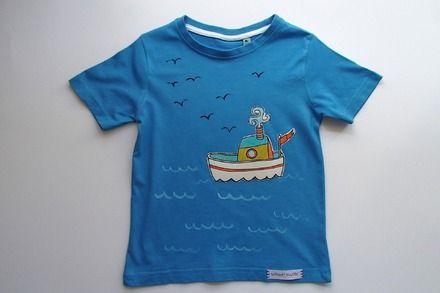 su ALittleMarket: T-shirt da bambino, in puro cotone - barchetta : Moda bambino di mompatchwork