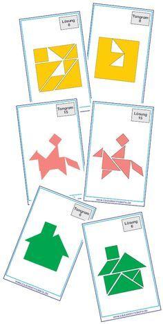 Tangram, das bekannte Legespiel fördert Ausdauer, Konzentration und räumliche Wahrnehmung.Die hier vorgestellten 30 Vorlagen wurden im Kartenspielformat erstellt und passen so in gängige Lehrmitteld
