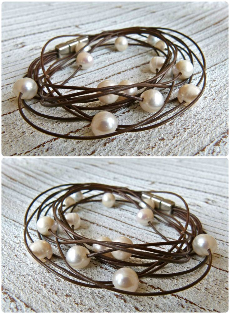 Bracelet leather with freshwater pearls to wrap by Charmecharmant on Etsy https://www.etsy.com/listing/156028900/bracelet-leather-with-freshwater-pearls