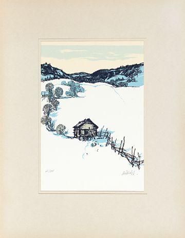 """KJELL AUKRUST ALVDAL 1920 - 2002  """"Gamal ut-løe i Alvdal"""" Fargeserigrafi, 15/345. 28x19 cm (L) Signert nede til høyre: Aukrust"""