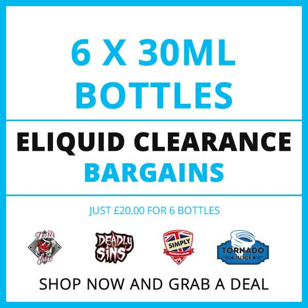 Our 6 bottle 30ml Eliquid Clearout offers allow you to choose from one of our selected flavours but grab a saving at the same time.