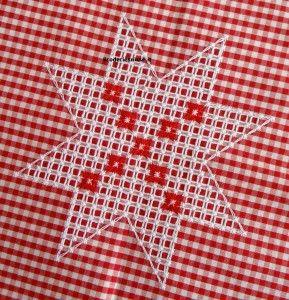 Broderie suisse, ricamo svizzero in stile italiano, stella natalizia, star chicken scratch christmas,