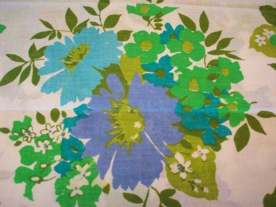 I just love the mod floral pattern on these vintage unused pillowcases! You could use them on your bed or to make throw pillows, aprons, valances, sleep shorts or any number of retro sewing projects.  They are standard size Sears fine muslin and feature mod flowers aqua, periwinkle blue, teal, lime and chartreuse on white. Since they are new old stock and crisp, I have not laundered them. They have no stains or damage but you will probably want to wash them before use.  This will ship First…