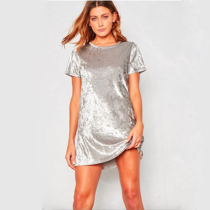 6,42 EUR, inkl. Versand: Plus Size Slip Velvet Dress Women Short Sleeve Bodycon Evening Party Dresses Autumn Casual Mini Dress Robe Femme Vestido Festa on Aliexpress.com | Alibaba Group