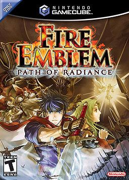 Fire Emblem: Path of Radiance, Gamecube; released on April 20, 2005 in Japan, October 17, 2005 in North America, it was the first Fire Emblem series title to feature voice acting & the first title to be rendered in 3D. The story is set on the fictional continent of Tellius & is unrelated to any of the previous Fire Emblem installments. Path of Radiance was praised for its deep story, excellent cut-scenes, & orchestrated music.
