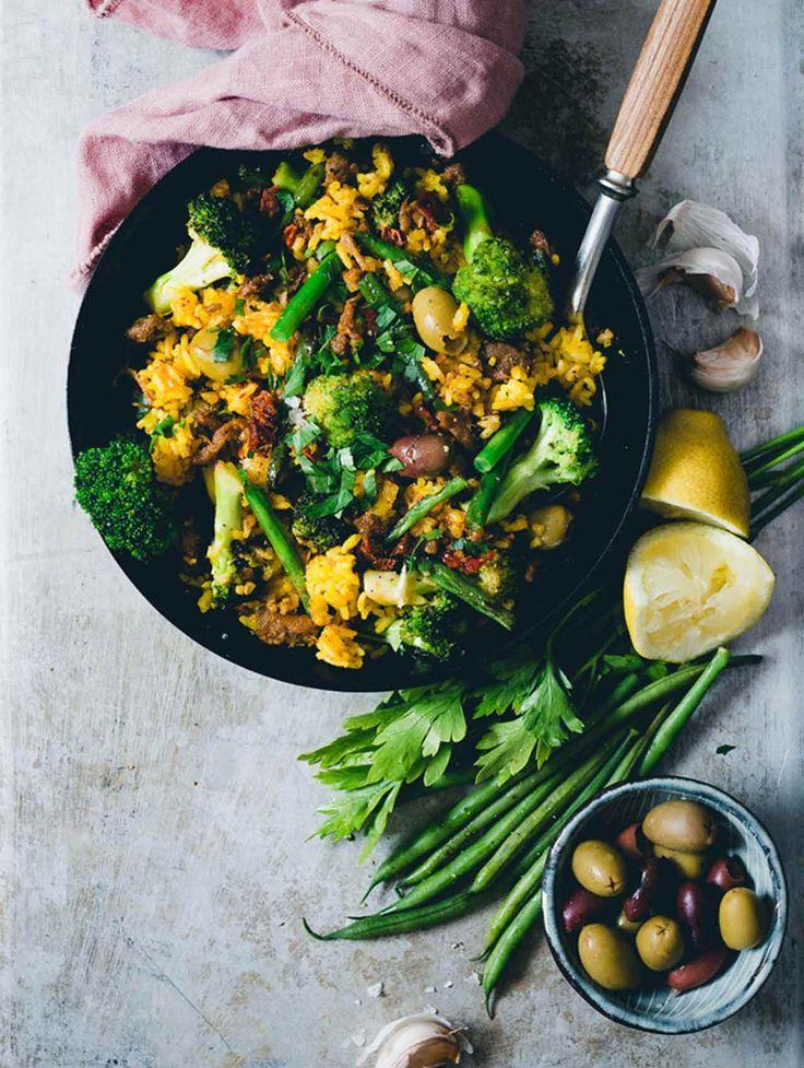 Pulled Oats® Paella med Saffran, Broccoli & Haricot Verts - Recipes