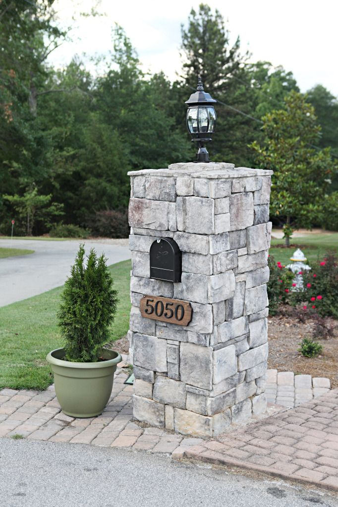 Stone Mailbox Pillars : Stone mailbox post designs woodworking projects plans