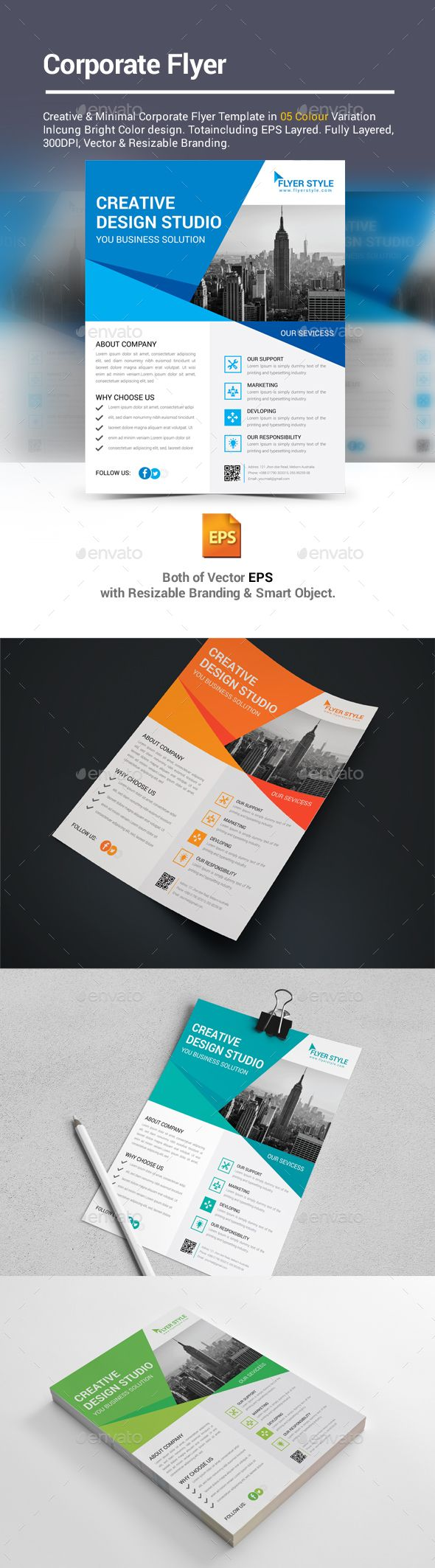Corporate Flyer Template Vector EPS. Download here: https://graphicriver.net/item/corporate-flyer/17207618?ref=ksioks