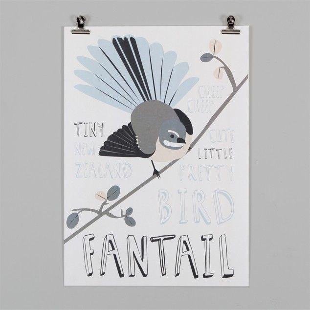 Fantail Print by Alice Berry - Art Prints NZ Art Prints, Design Prints, Posters & NZ Design Gifts   endemicworld