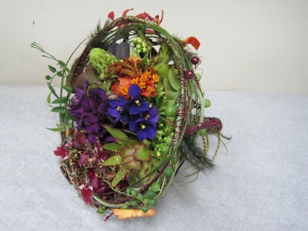 whimsical bridal bouquet with orange, purple  flowers , Françoise Weeks