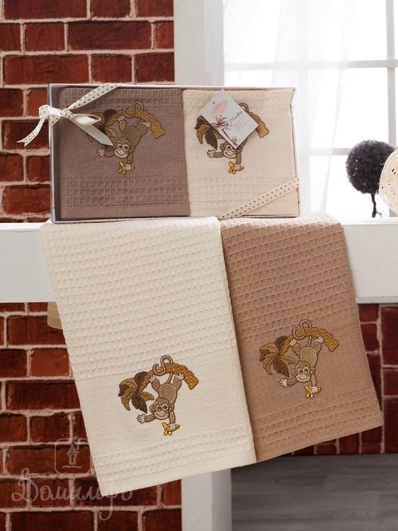 Набор вафельных полотенец с вышивкой KARNA обезьяна WOLDI V6 40х60 (2шт) от Karna (Турция) - купить по низкой цене в интернет магазине Домильфо