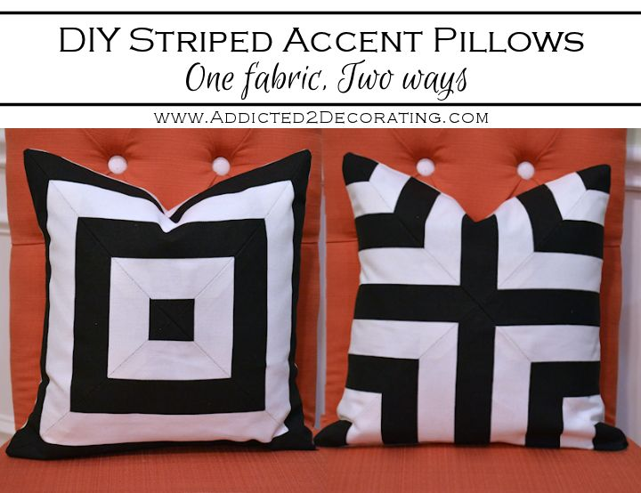 DIY Black & White Striped Accent Pillows – One Fabric, Two Ways