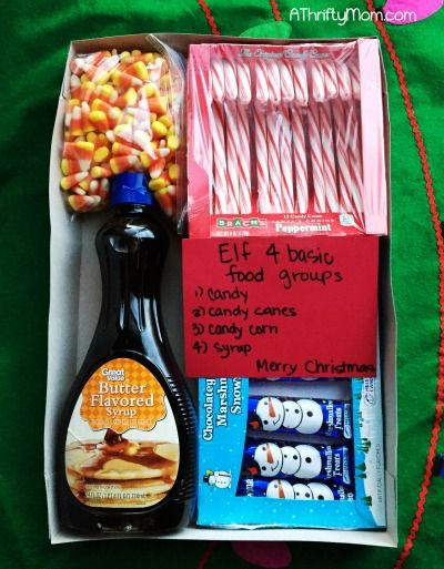 Elf gift package, Elf inspired gifts, 4 food groups, white elephant gift