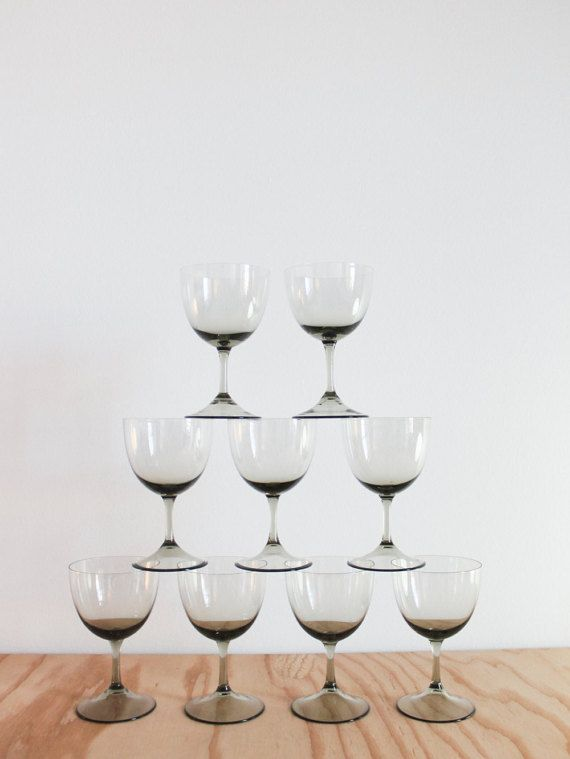 Nine Midcentury Smoke Glass Wine Glasses by friendsofray on Etsy