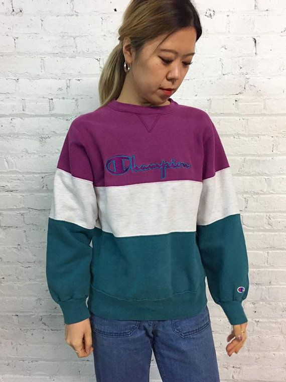 2ae20beeb2139 vintage colorblock Champion sweatshirt   athletic 3 panel crewneck    streetwear pullover sweatshirt