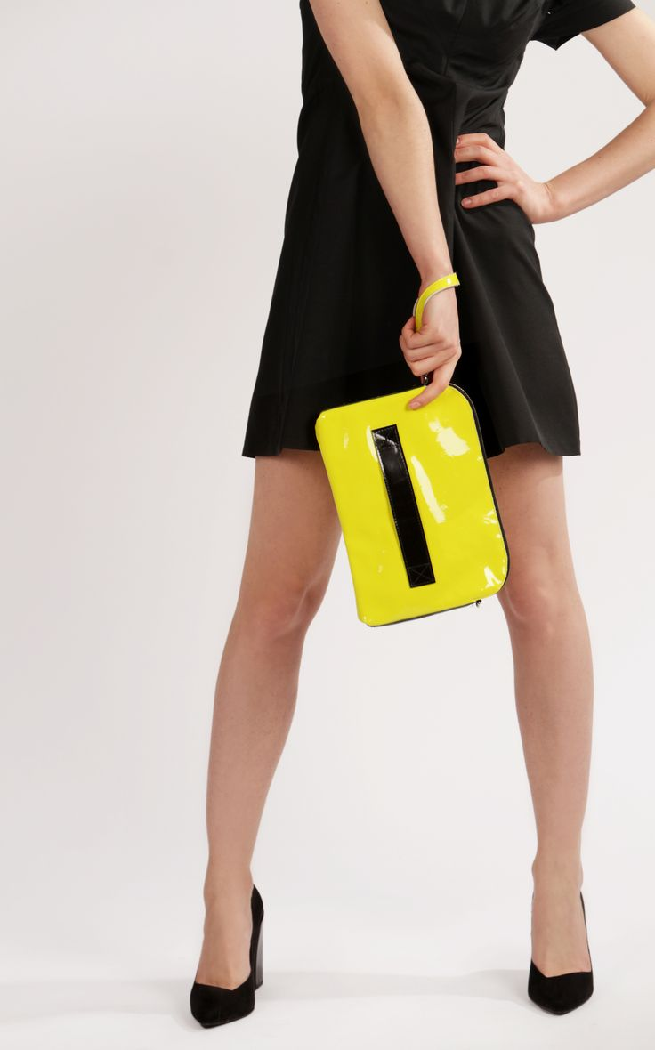 "Neon Yellow Leather Clutch ""Megan Lemon"", Handmade Clutch Purse, Lemon Clutch Bag, Yellow Clutch for iPad mini, Gift for Women, Gift for Her"
