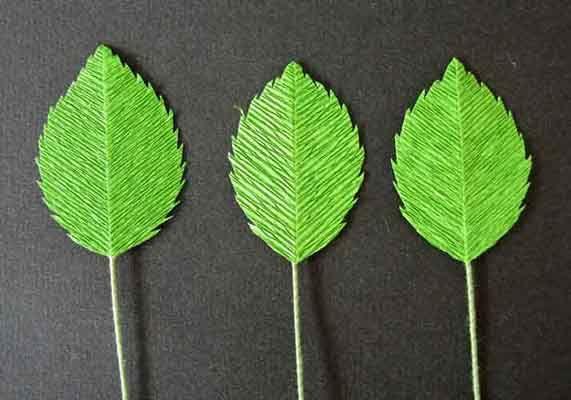 Crepe paper rose leaves
