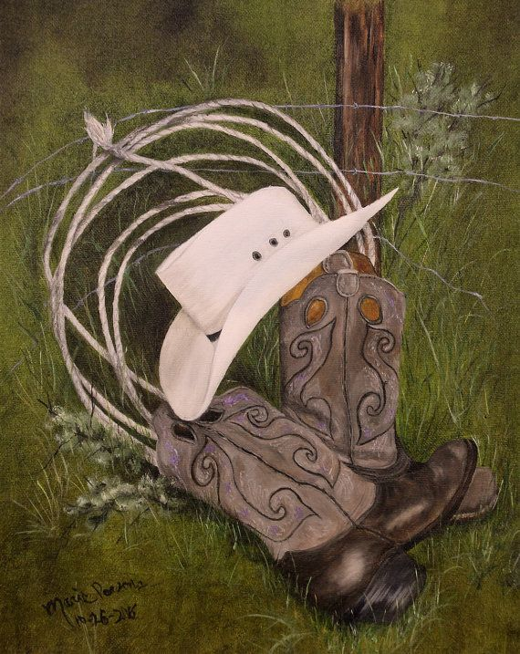 Cowboy Boots Art Print Cowboy Hat Art Print Western Art  b4efd5a15498