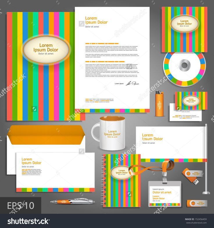 Color corporate identity template with stripes. Vector company style for brandbook and guideline. EPS 10