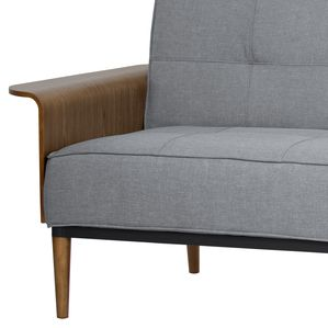 Armen Living Monroe Mid-Century Convertible Futon in Gray Tufted Fabric and Walnut Wood