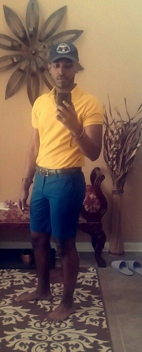 #Casual #men #outfit #Navy #shorts #yellow #mustard #polo