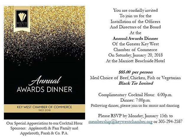 Dear Members Key West Chamber of Commerce invites you to the