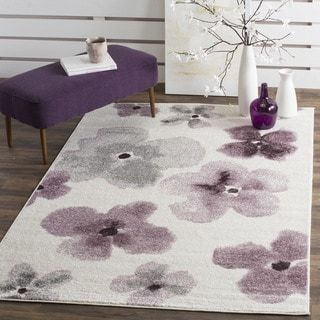 Safavieh Adirondack Floral Watercolor Ivory / Purple Rug (8' x 10')