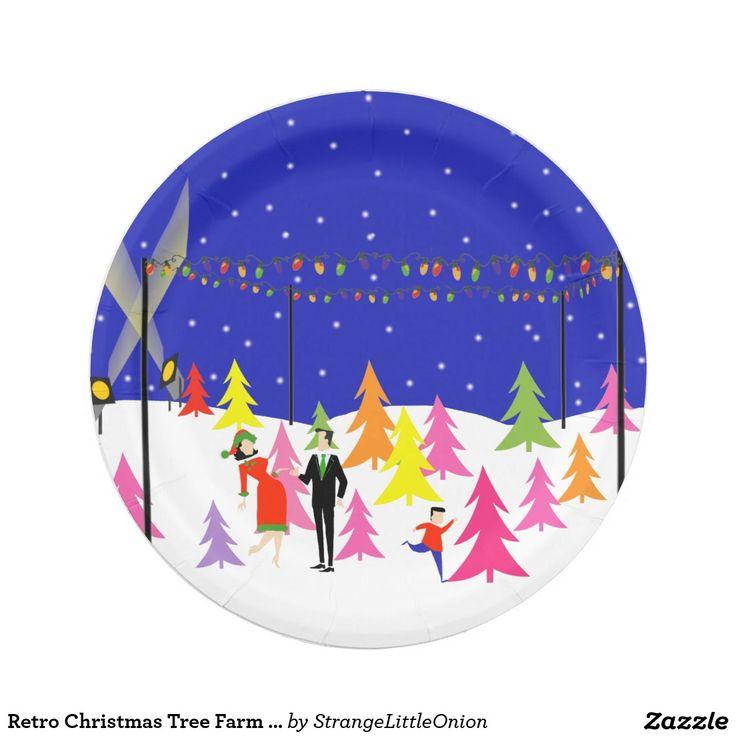 Retro Christmas Tree Farm Paper Plates Zazzle Com Retro Christmas Tree Christmas Tree Farm Retro Christmas