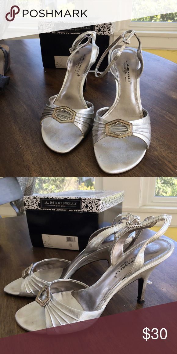 Special occasion shoes! Silver/metallic heels with shell embellishment Shoes Heels