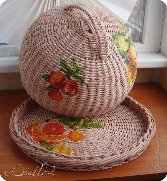 Поделка изделие Плетение Хлебницы и Трубочки бумажные фото 2