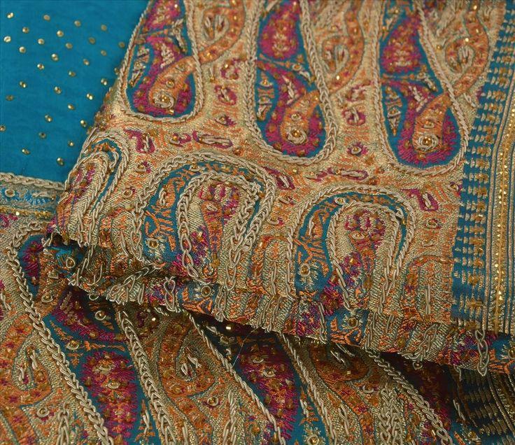 Vintage INDIANO Sari 100% Puro Seda Cetim Mão Frisada De Tecido de sari ambientes Brocade Fabric - R$153