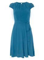 Womens **Billie & Blossom Petite Teal Blue Belted Skater Dress- Blue