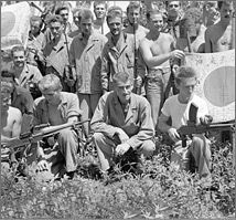 Lt. Col. Carlson (front row center) with his raiders at Guadalcanal. February 1943. Several Latinos toward the end of World War II began to participate on the allied side. They fought in large numbers, however since many of the troops were integrated there does not exist a cohesive number to prove the amount that fought. Many Latin Americans had been raised in the Good Neighbor Policy era and were fiercely Americanized.