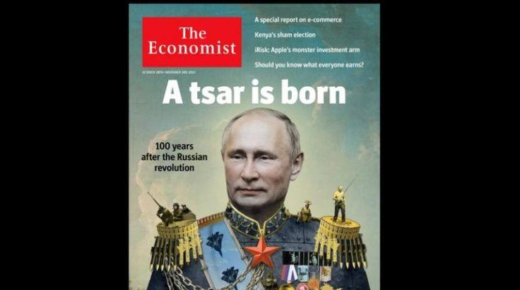 The Economist к годовщине революции выпустил обложку с Владимиром Путиным в образе царя http://oane.ws/2017/10/26/the-economist-k-godovschine-revolyucii-vypustil-oblozhku-s-putinym-v-obraze-carya.html  Американский журнал The Economist к годовщине революции выпустил обложку с Путиным в образе царя. Изображение опубликовано в официальном Twitter-аккаунте издания.