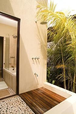 Chic outdoor shower..Get inspired.. byCOCOON.com for Contemporary Minimalist Modern Luxury Design Bathrooms around the Globe. Indoor & Outdoor Baths & Showers to live in...& COCOON #Inox #StainlessSteel shower sets by #COCOON