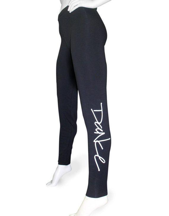 """Womens Leggings For Dance titled """"Sidescript Dance"""". Black spandex cotton full length leggings for ballet, jazz, tap, and hip hop."""