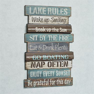 Lake Rules Wooden Wall Sign
