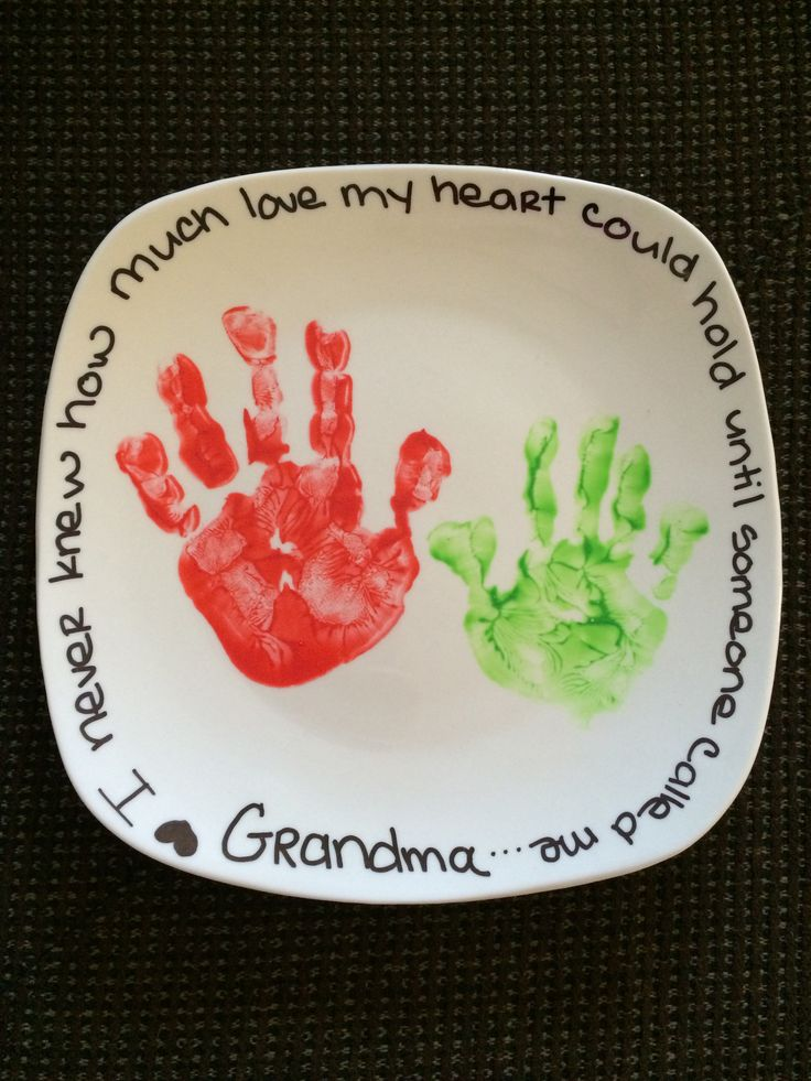 DIY handprint plate. Dollar store plate, any finger-paint, make design, let dry, then bake on 350 for 30 mins. And enjoy a long lasting memory.
