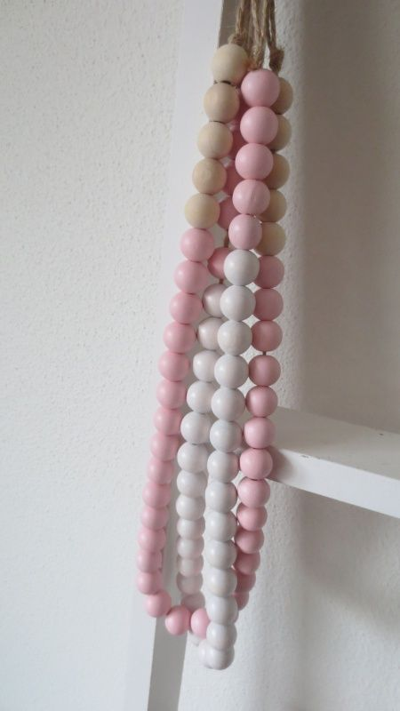 Woonketting houte/pastelroze (60 of 90 cm lang)