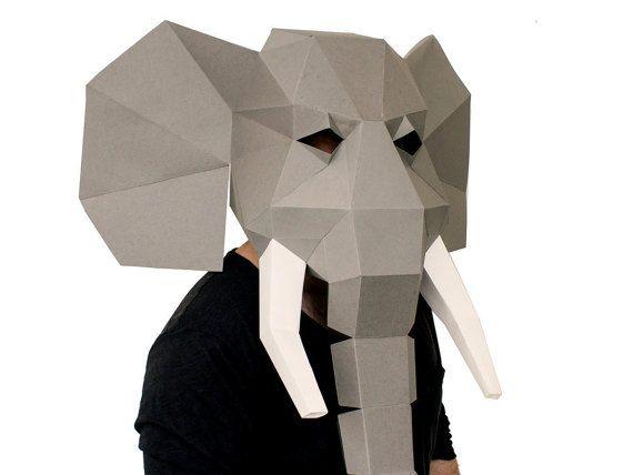 Elephant Mask Diy Printable Animal Head Instant Pdf